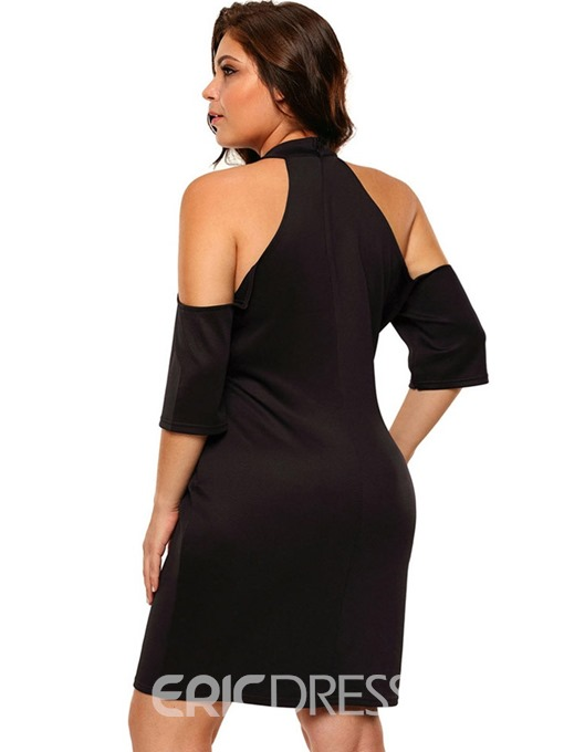 Ericdress Plus Size Appliques Cold Shoulder Bodycon Cocktail Dress