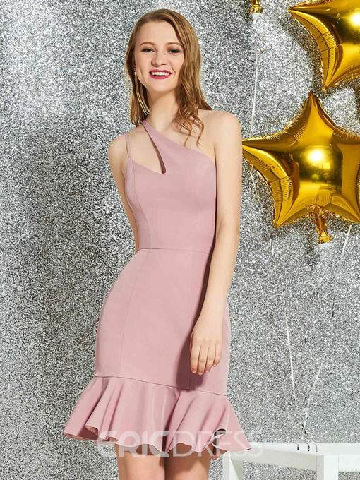 Ericdress Mermaid Knee-Length One Shoulder Homecoming Dress 2019
