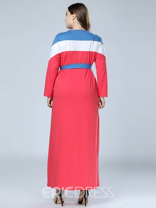 Ericdress Round Neck Ankle-Length Color Block A-Line Plus Size Dress