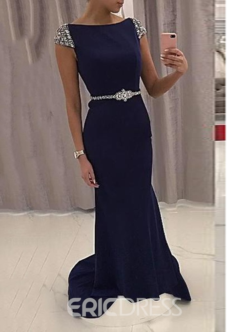 Ericdress Cap Sleeves Mermaid Evening Dress 2019 With Beading