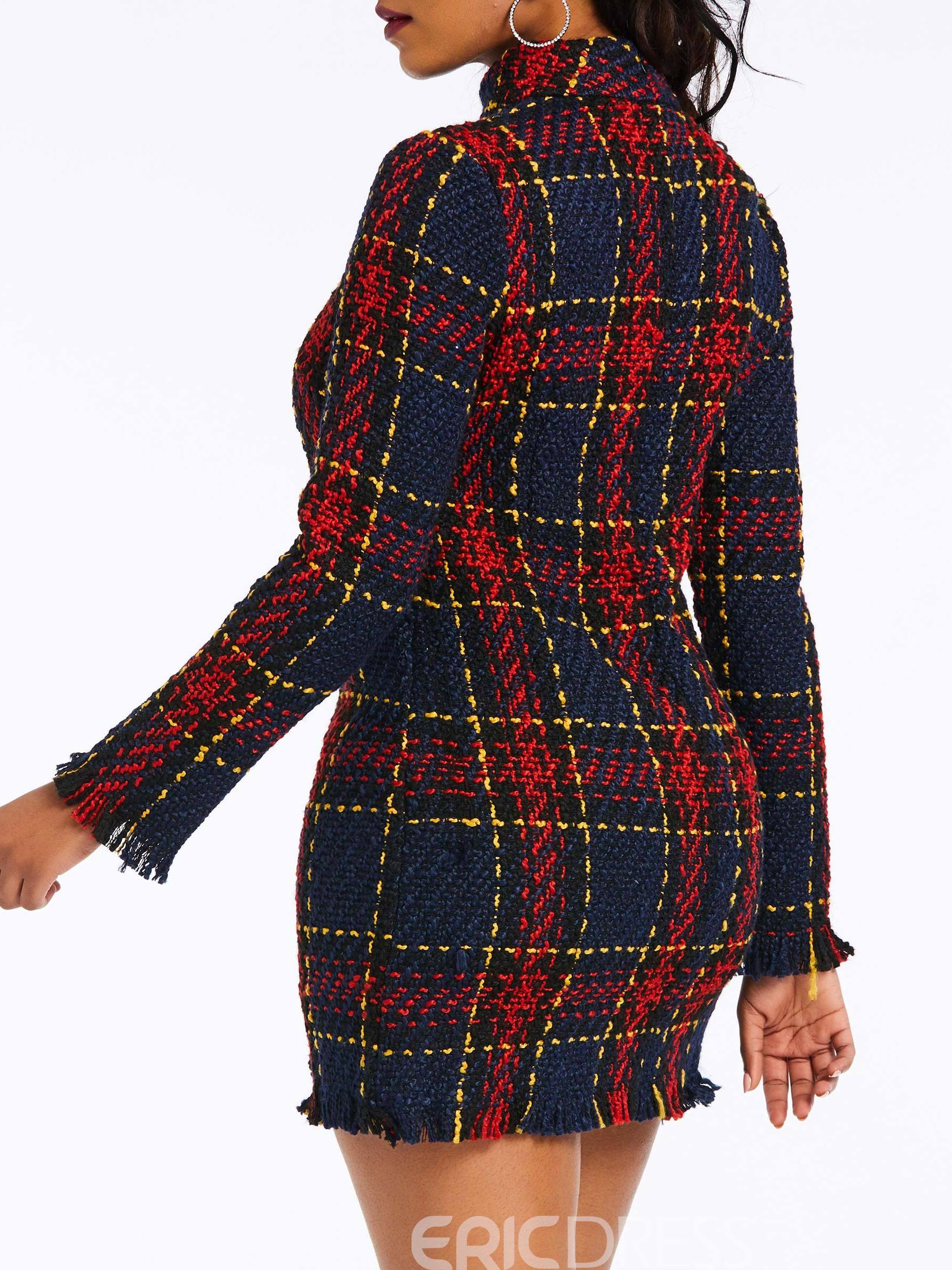 Ericdress Plaid Above Knee Long Sleeve Bodycon Dress