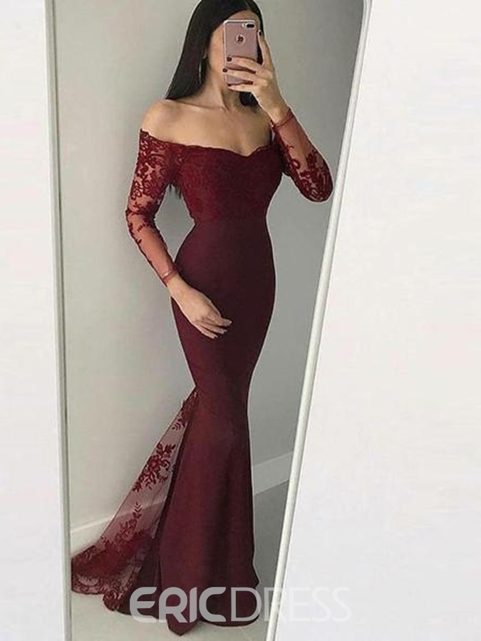 Ericdress Off-The-Shoulder Mermaid Long Sleeves Lace Evening Dress 2019