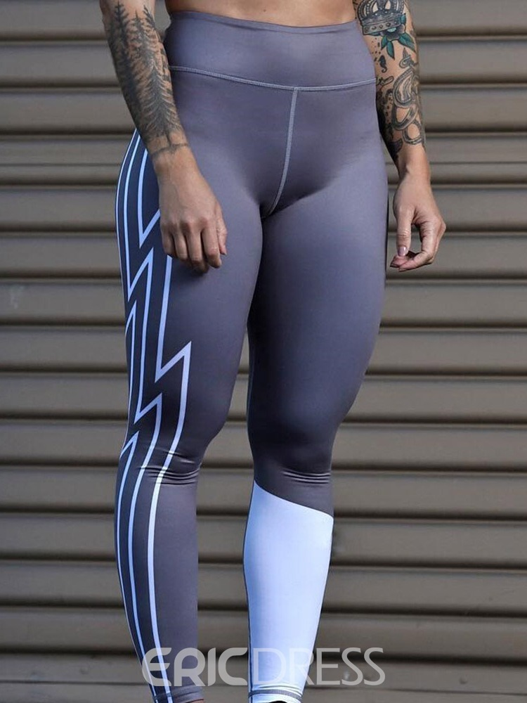 Ericdress Patchwork Color Block Sports High-Waist Leggings