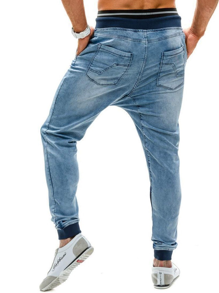 Ericdress Patchwork European Lace-Up Mens Casual Jeans