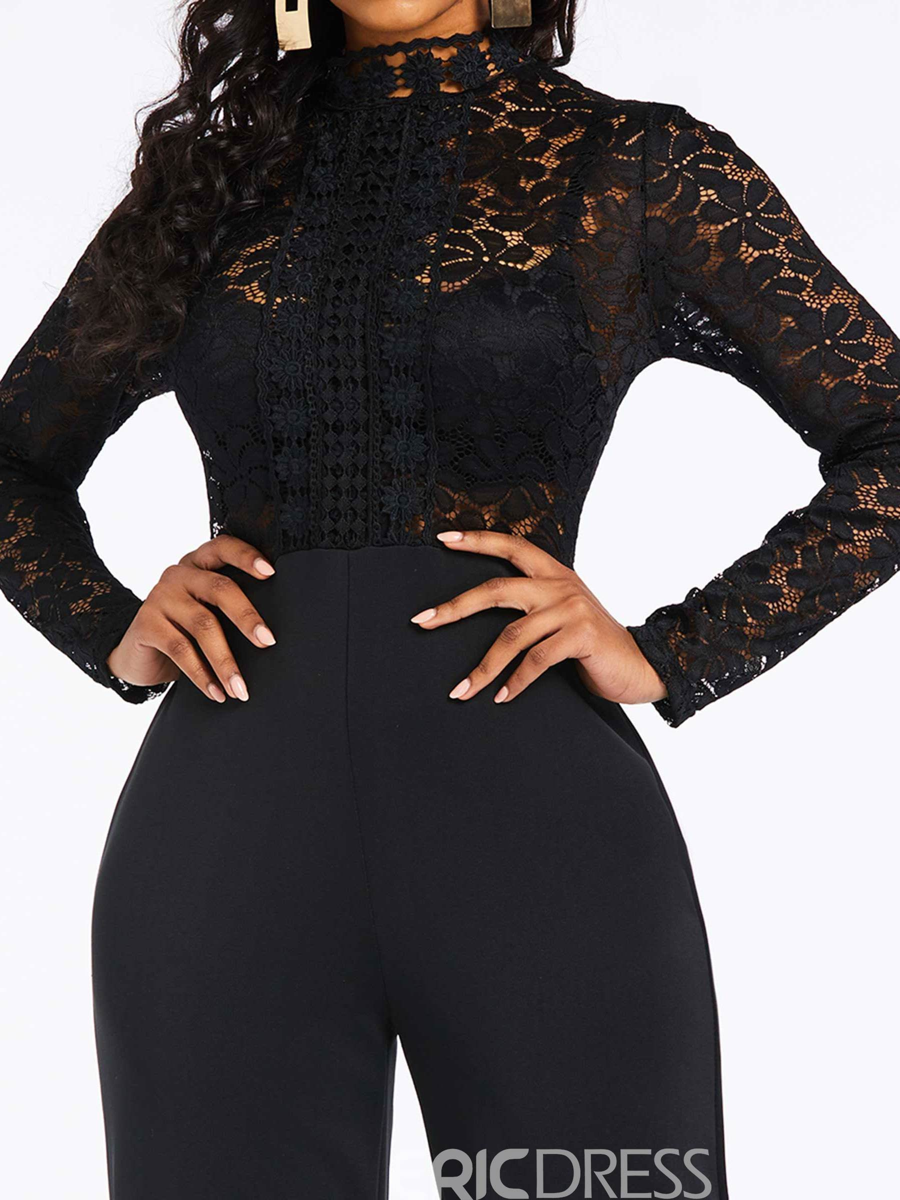 Ericdress Lace Plain Patchwork See-Through Date Night Women's Jumpsuit
