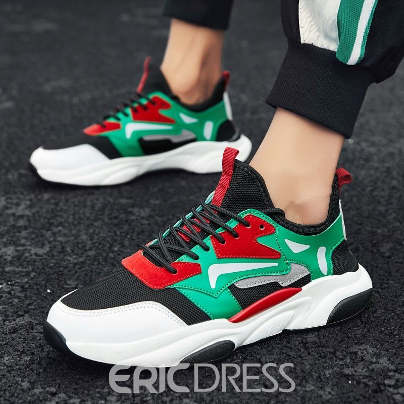Ericdress PU Patchwork Lace-Up Round Toe Men's Athletic Shoes