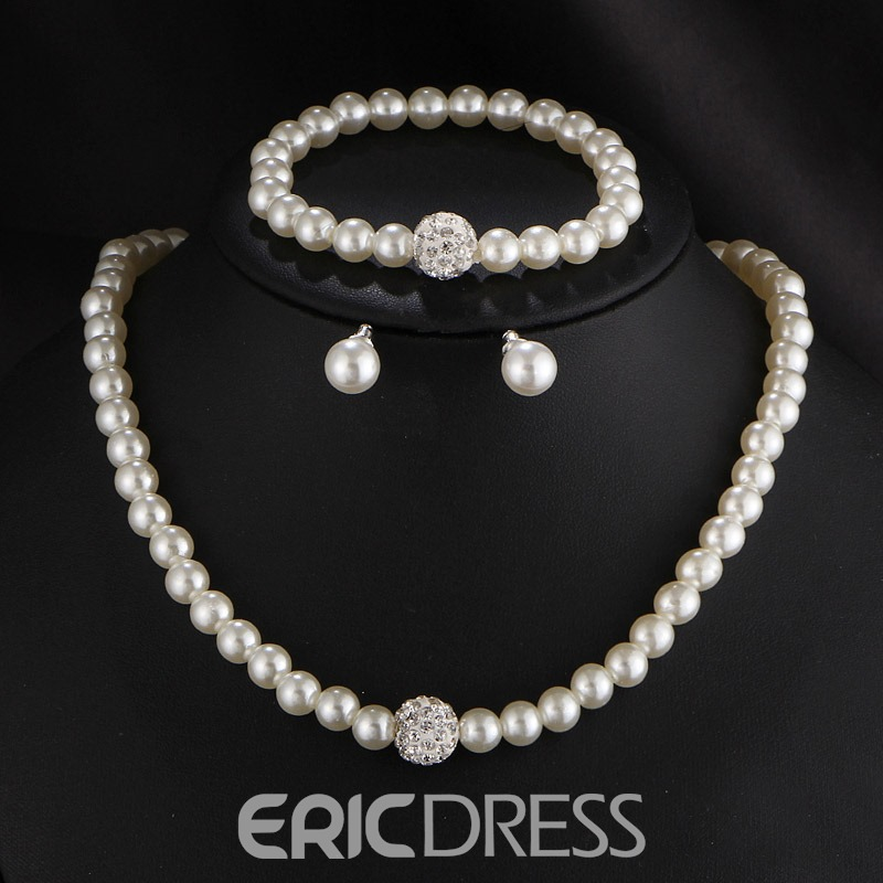 Ericdress Diamante Pearl Romance Jewelry Set