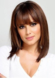 Ericdress Shoulder Length Natural Straight Haircut With Bangs Synthetic Hair Lace Front Wigs 18 Inches