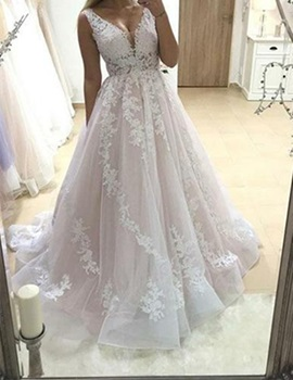 Ericdress V-Neck A-Line Appliques Wedding Dress