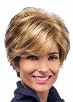 Ericdress Short Blonde Color Wavy Layered Lace Front Synthetic Hair Wig 8 Inches