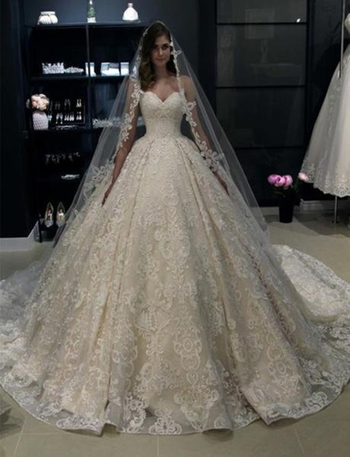 Ericdress Sweetheart Lace Ball Gown Wedding Dress 2019