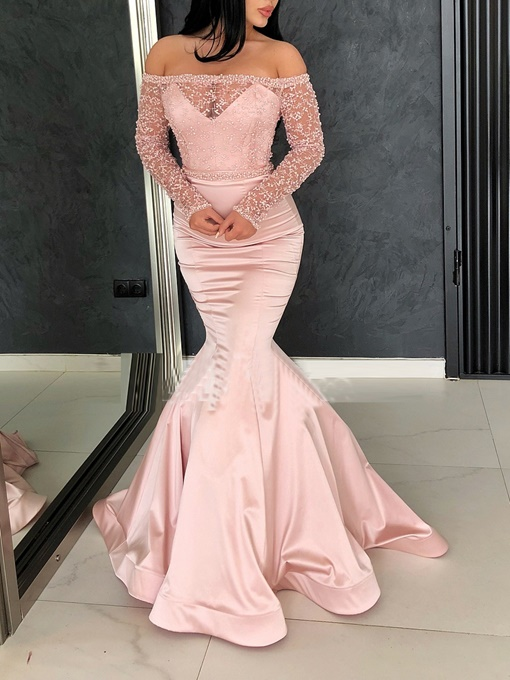 Ericdress Off-The-Shoulder Beading Long Sleeves Evening Dress