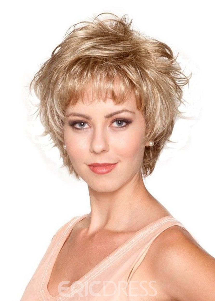 Ericdress Short Blonde Color Curly Layered Lace Front Synthetic Hair Wig 8 Inches