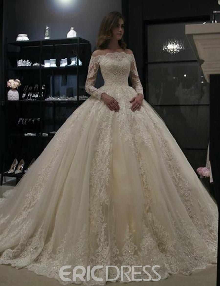 Ericdress Long Sleeve Lace Ball Gown Wedding Dress 2019