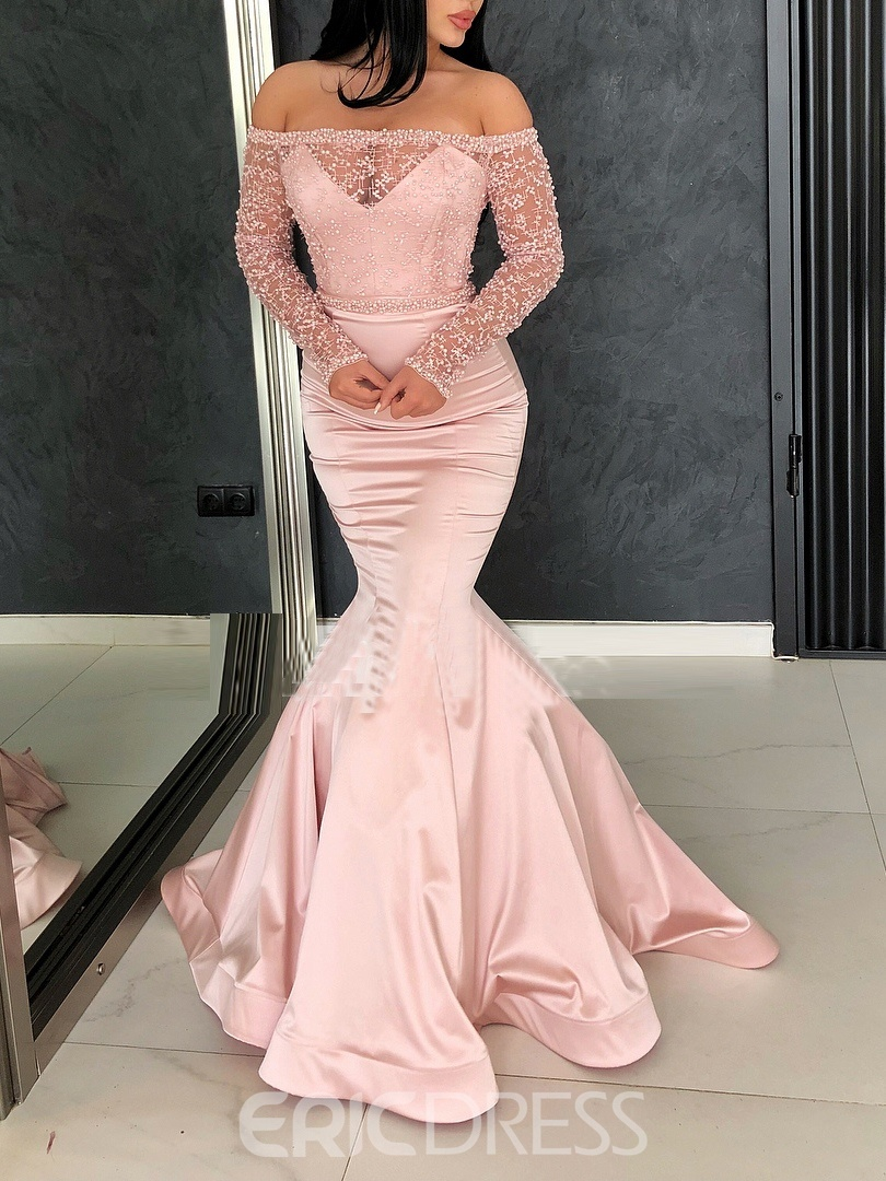 Ericdress Off-The-Shoulder Beading Long Sleeves Evening Dress 2019