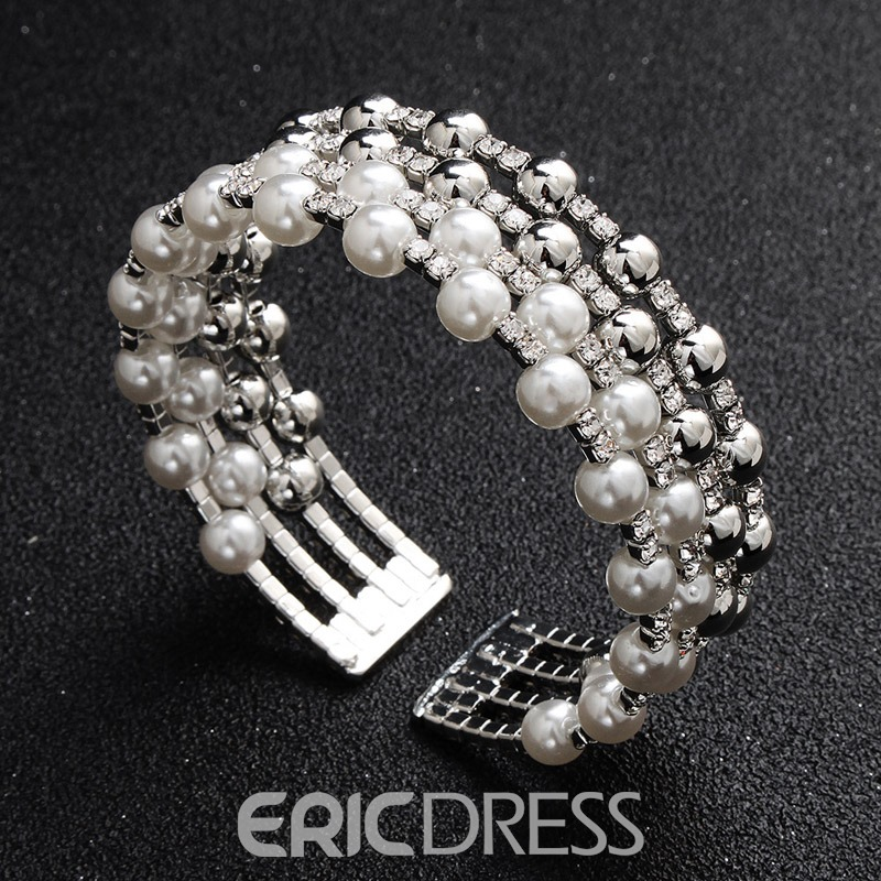 Ericdress Pearl Diamante Luxury Bracelet