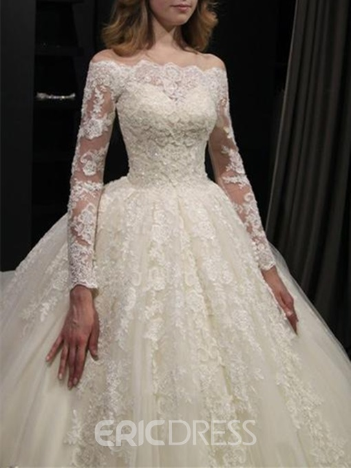 Ericdress Long Sleeve Lace Ball Gown Wedding Dress