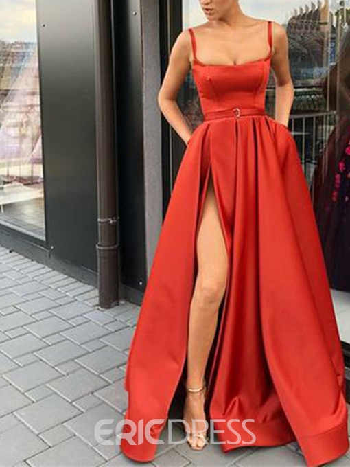 Ericdress Spaghetti Straps Evening Dress 2019 With Split Side