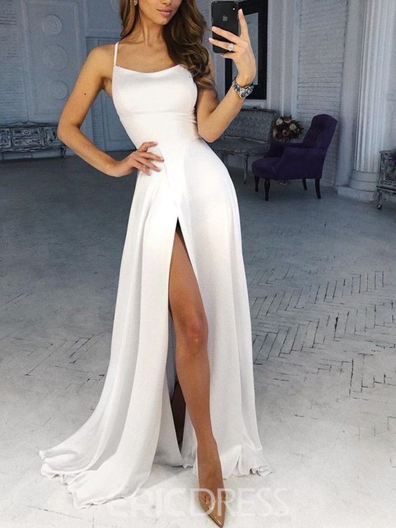 Ericdress Spaghetti Straps Split-Front Prom Dress 2019