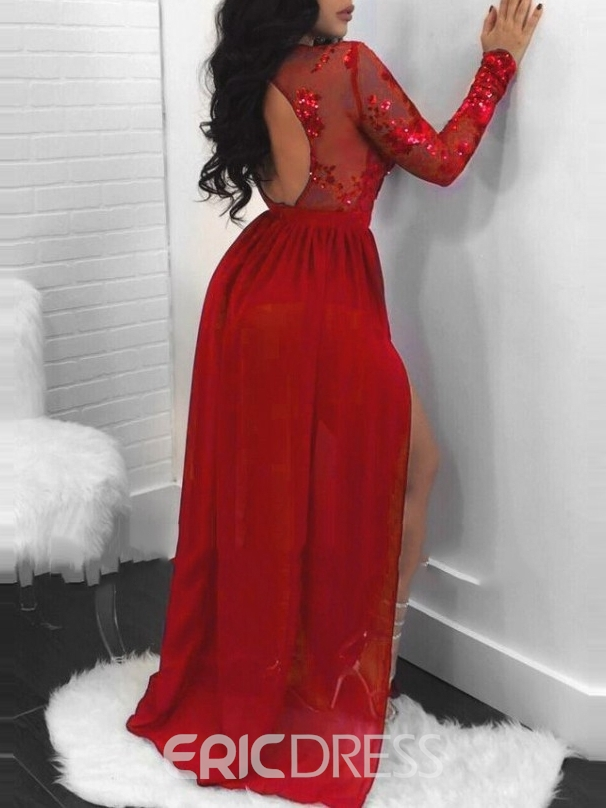 Ericdress Backless Long Sleeves Sequins Evening Dress