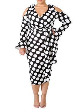 Ericdress Plus Size Mid-Calf V-Neck Polka Dots Date Night Dress