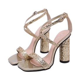 Ericdress Sequin Chunky Heel Strappy Women's Sandals