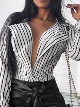 Ericdress Stripe Regular Print Long Sleeve Standard Blouse