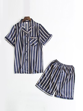 Ericdress Color Block Stripe Print Sleep Top Short Sleeve Pajama Suit
