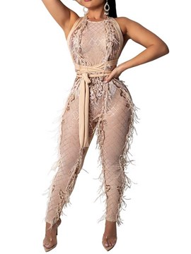Ericdress Geometric Fashion See-Through Slim Jumpsuit
