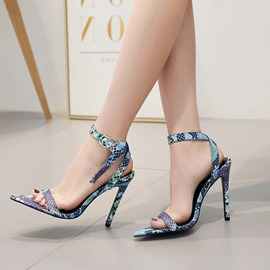 Ericdress Alligator Pattern Ankle Strap Stiletto Heel Women's Sandals