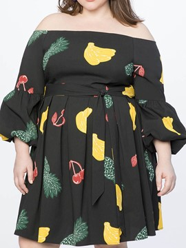Ericdress Above Knee Off Shoulder Print Plus Size Lantern Sleeve Sexy Dress
