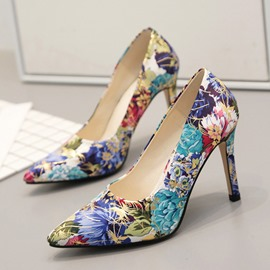 Ericdress Floral Stiletto Heel Pointed Toe Women's Pumps