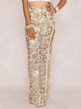 Ericdress Sequins Floral Ankle-Length Fashion Party Skirt