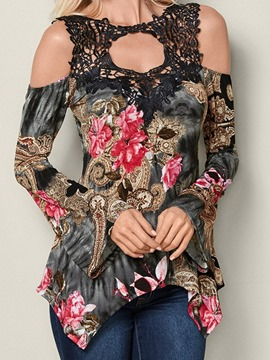 Ericdress Floral Mid-Length Round Neck Slim Spring T-Shirt