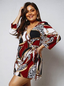 Ericdress Plus Size Print Above Knee Color Block A-Line Dress