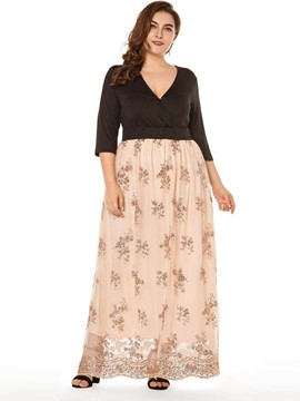 Ericdress V-Neck Floor-Length Embroidery Pullover Plus Size Dress