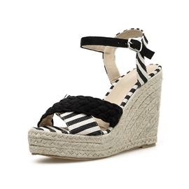 Ericdress PU Ankle Strap Platform Wedge Heel Women's Sandals