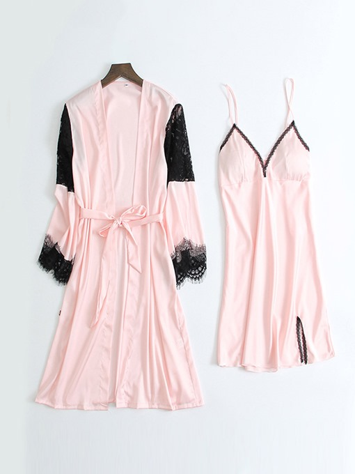 Ericdress Color Block Lace Patchwork Casual Nightgown Pajama Suit