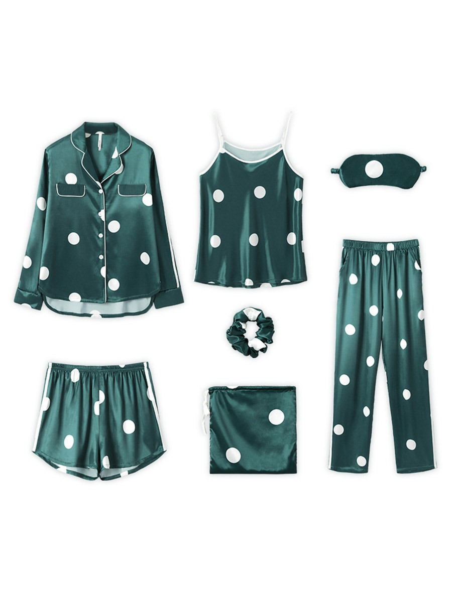 Ericdress Print Polka Dots Lapel Sleep Bottom Pajama Suit