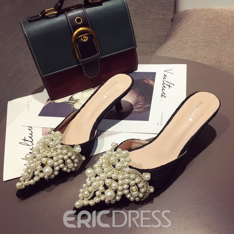 Ericdress Beads Stiletto Heel Women's Mules Shoes