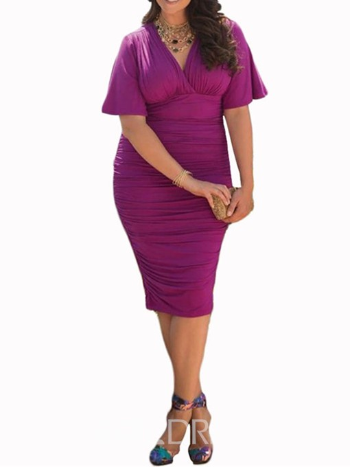 Ericdress Knee-Length Short Sleeve V-Neck Plus Size Bodycon Dress