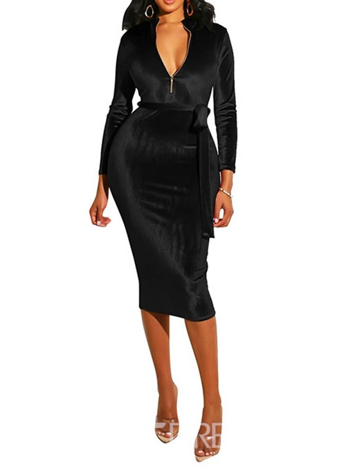Ericdress Long Sleeve Mid-Calf Sexy Zipper Bodycon Dress