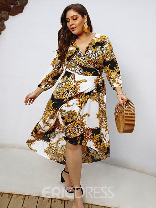 Ericdress Plus Size African Fashion Long Sleeve V-Neck Color Block Dress