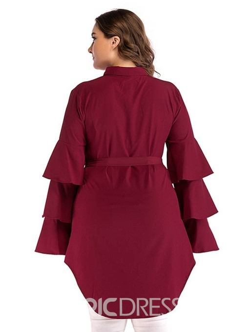 Ericdress Plus Size Above Knee Lapel Plain Ruffle Sleeve Asymmetric Dress