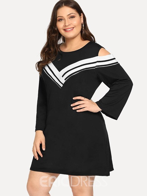 Ericdress Cold Shoulder Round Neck Color Block High Waist Plus Size Dress