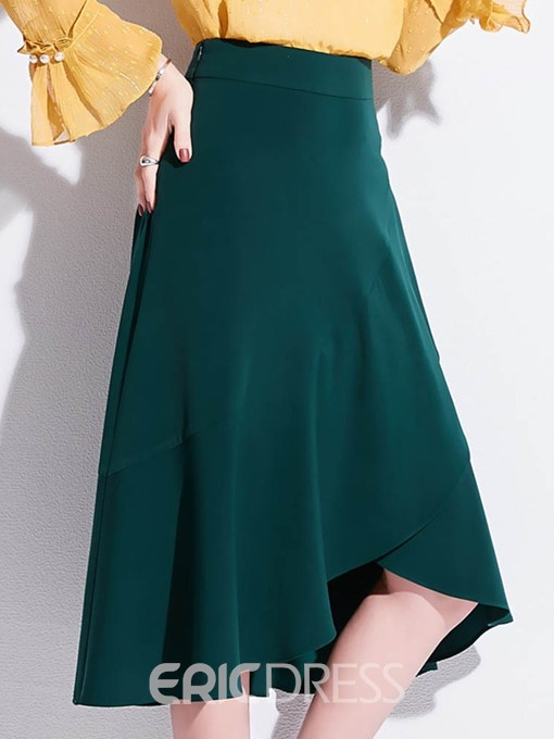 Ericdress Asymmetrical Knee-Length Plain Casual High-Waist Skirt