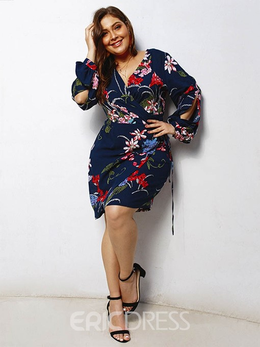 Ericdress Plus Size Print Long Sleeve Above Knee Floral High Waist Dress