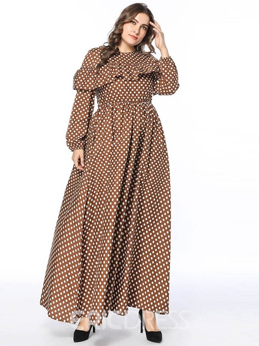 Ericdress Round Neck Polka Dots Floor-Length Plus Size Going Out Ruffles Dress