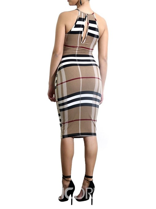 Ericdress Sleeveless Round Neck Knee-Length Casual Plaid Dress