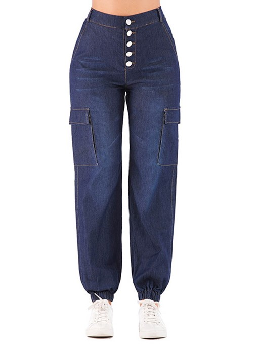 Ericdress Pocket Plain Knickerbockers Button Loose Jeans